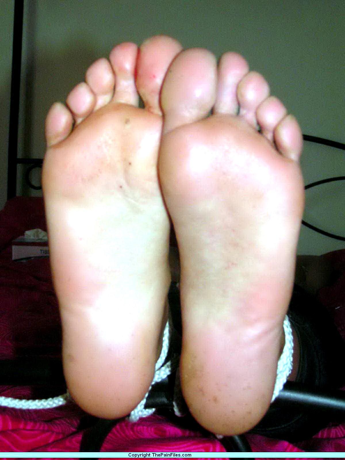 Foot fetish brunette tortured