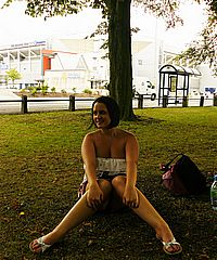 Amateur public nudity and english babes Emma Louise and Sarah Jane flashing nude round parks and roads on british streets from UK Flashers