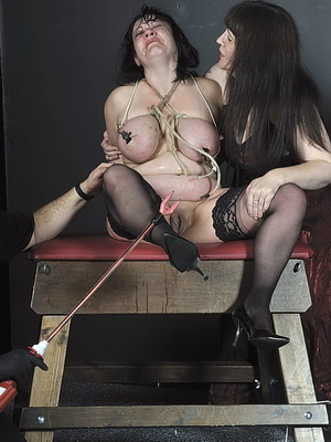 Chubby Andreas lesbian electro torture and extreme breast bondage of amateur bbw slavegirl in lezdom torments to tears and hardcore bdsm from The Pain Files