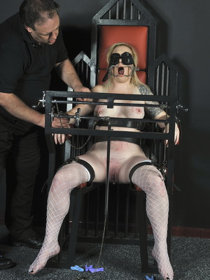 Angels tower of pain tit torture and breast whipping of blindfolded blonde English slave girl in the dungeon from Shadow Slaves