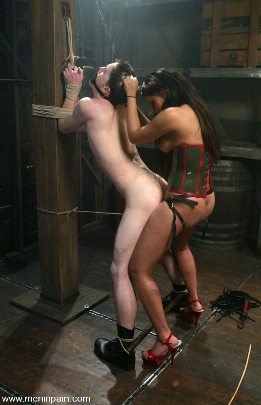 Dominant asian mistress training male slaves