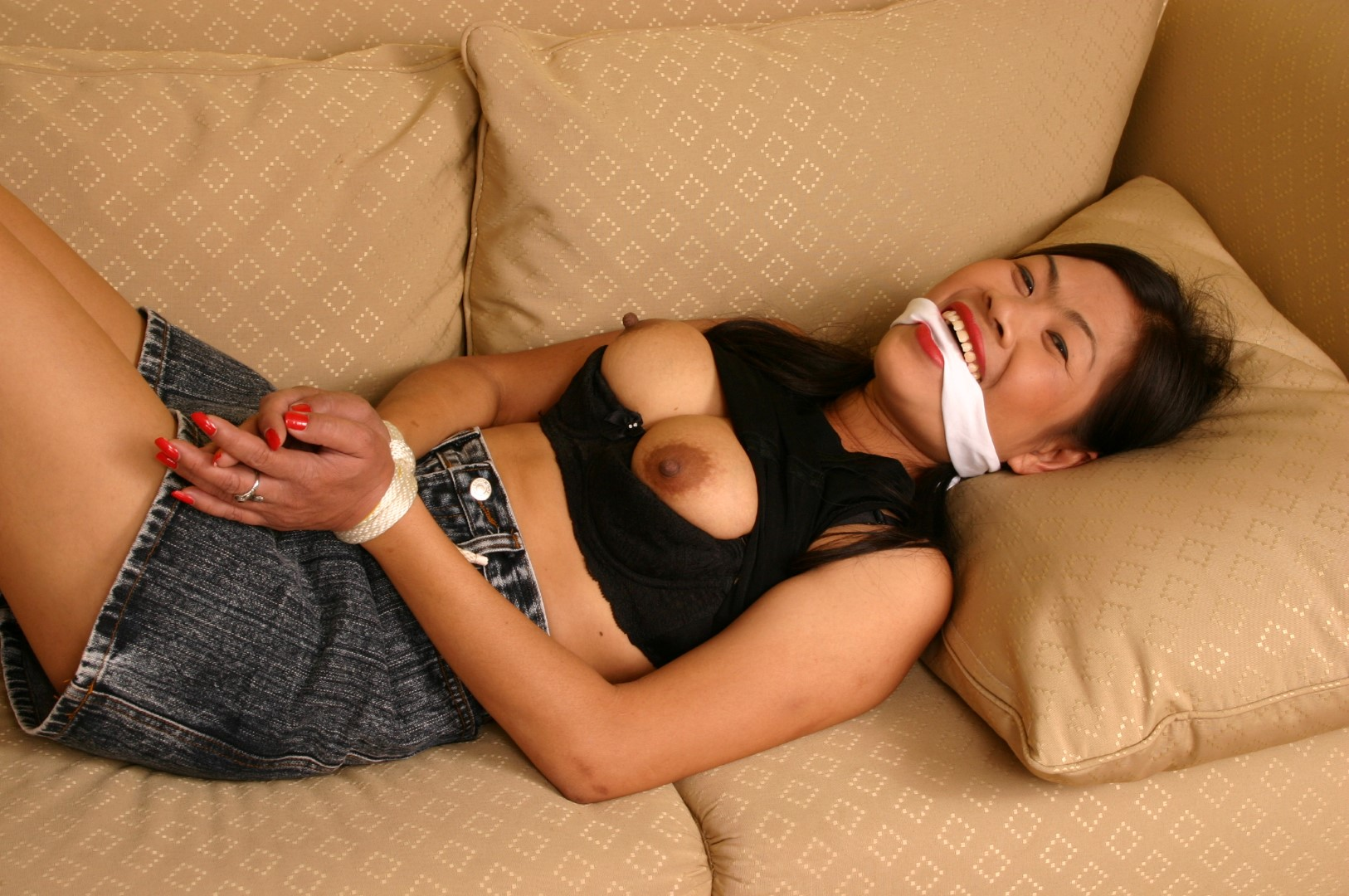 Asian women bound naked