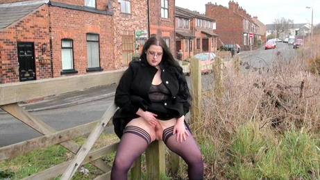 Bbw Uk flasher Emmas public nudity and masturbation of peeing chubby girl next door in the village centre in England from UK Flashers