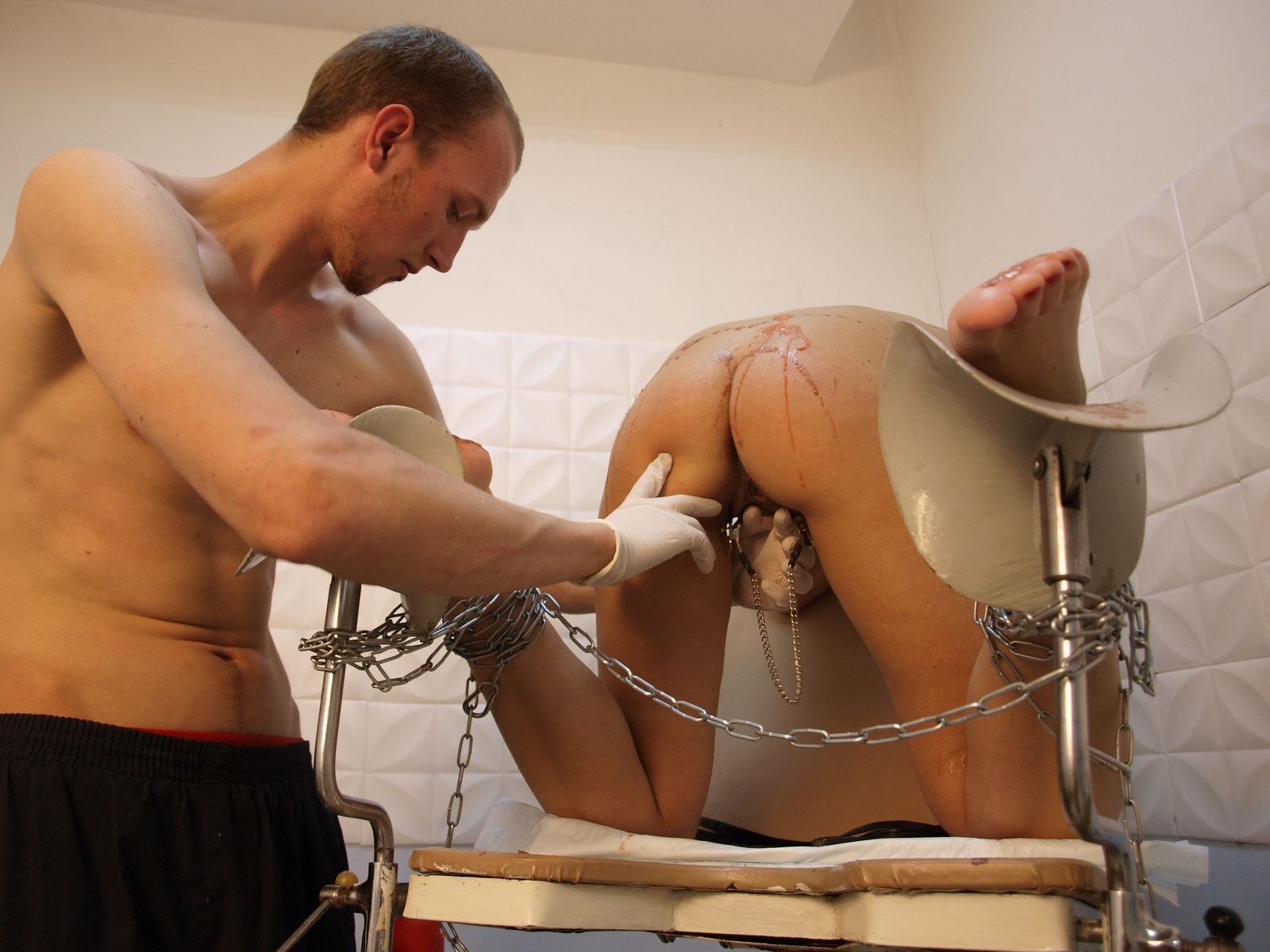 image Bizarre fat slave punishment and homemade tools bdsm