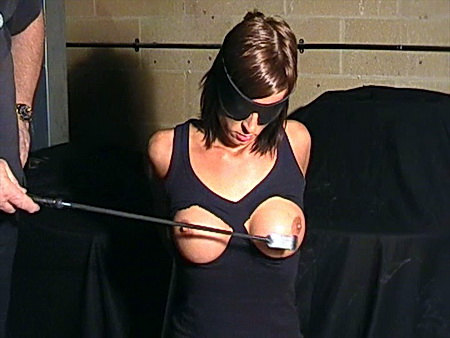 Busty blindefolded bdsm slavegirl Daniellas breast whipping and tit slapping punishment from The Pain Files