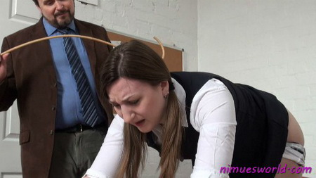 Pandora Blakes spanking and caning by the headmaster from Nimues World