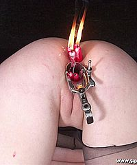 Slave girl Cherry Torns sexual punishment and bizarre speculum torture of her burning ass and mousetrap punished nipples from Shadow Slaves