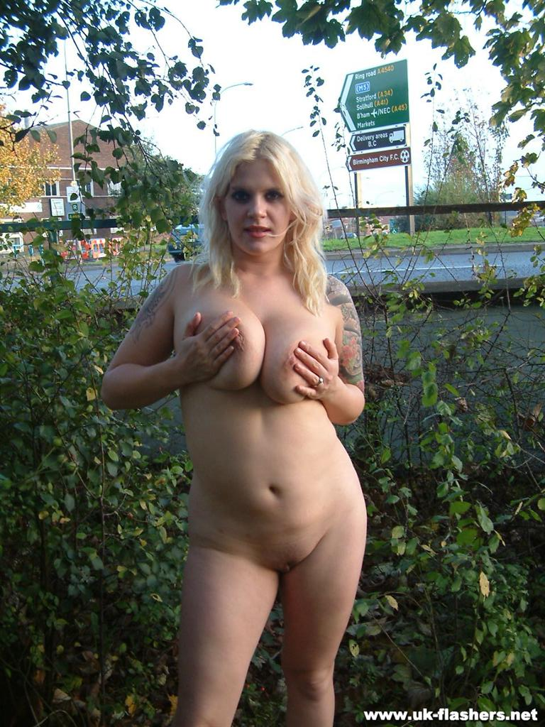 Nude bare breasts in public