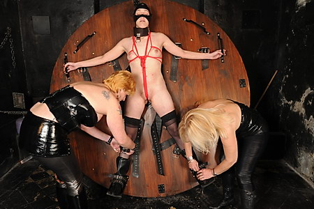 Whipped and tit tormented Jessicas deprived destruction by two evil femdoms in extreme bdsm on the dungeon bondage wheel from The Pain Files