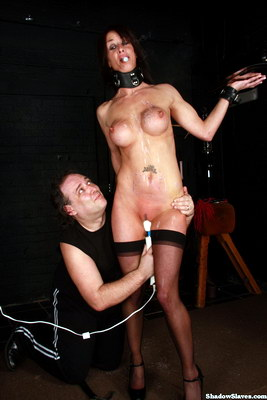 Daniis tit whipping and bizarre bdsm service maid punishment with struggling boobalicious british babe trying to deliver drinks whilst whipped and clitoris stimulated from Shadow Slaves