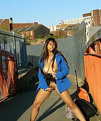 Ebony teen flashing and masturbation outdoors with cute black babe from UK Flashers