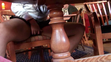 Teen Candys ebony upskirts and voyeur masturbation in a pub whilst flashing her naked pussy from under the table and moaning loudly with pleasure as she touches herself from UK Flashers