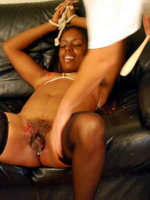 Ebony pussy spanking