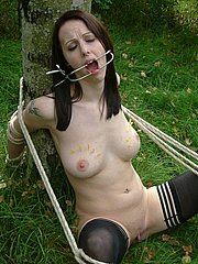 Outdoor needle pain and dental gagged lesbian bdsm with slavegirl Emily Sharpe and Mistress Nimue from The Pain Files