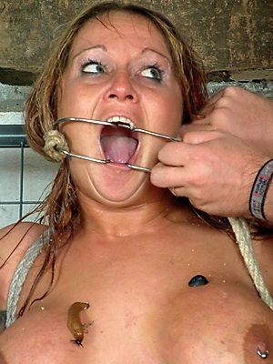 Heartless terror humiliation of mature wife Gina in phobia fear domination and screaming gagged amateur with big tits in bondage from Shadow Slaves