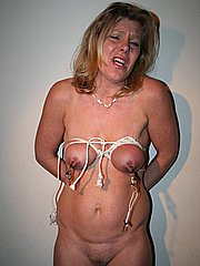 Mature fetish slaves breast bondage and extreme tit whipping bdsm punishments from The Pain Files