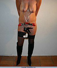 Dutch amateur bdsm and extreme metal clamp tit torments from Holland with pain from The Pain Files