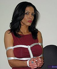 Indian secretary bondage of sexy milf dominated and tied up at work from Bondagettes