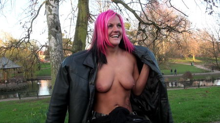 Redhead handicapped babe Leah Caprice flashing tits in public and strip teasing punters outdoors in a uk worcester park from UK Flashers