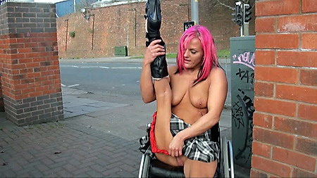 Wheelchair bound Leah Caprice in uk flashing and outdoor nudity of handicapped babe masturbating in public from UK Flashers