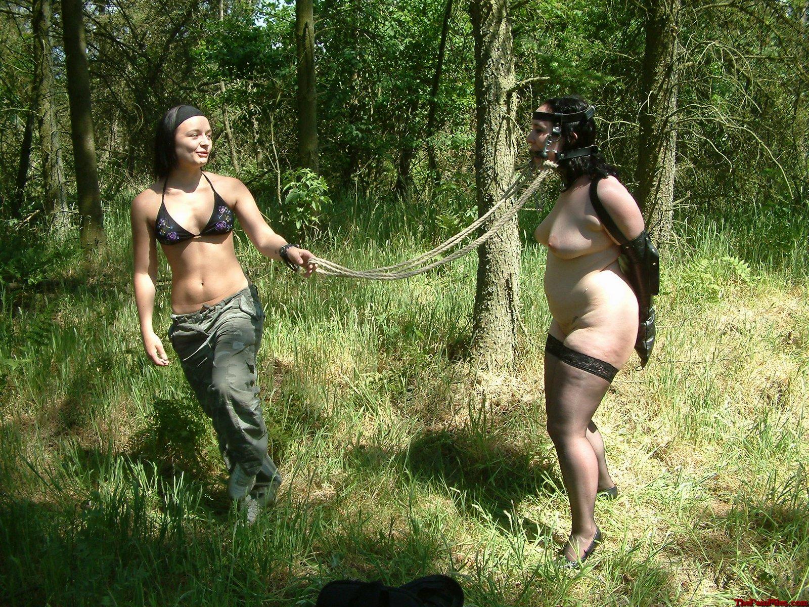 Lezdom outdoor bondage