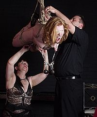 Suspension bondage and tit torture of lesbian slaveslut Madison in extreme nipple pain and flying restraints under the control of mistress Jay from Shadow Slaves