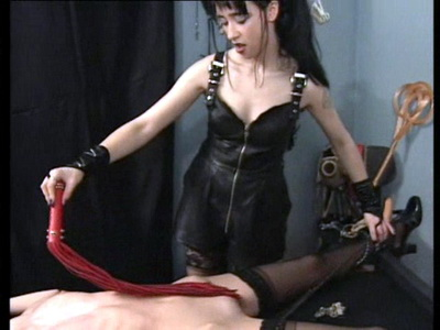 Lesbian femdom bondage and breast whipping of blonde slavegirl Henrietta by evil lady Jenny from The Pain Files