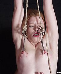 Lesbian slavegirl Madison Youngs extreme pain and nipple torture in strict bondage from Shadow Slaves