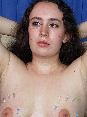 Extreme slavegirl in needle pain and boob torments from The Pain Files