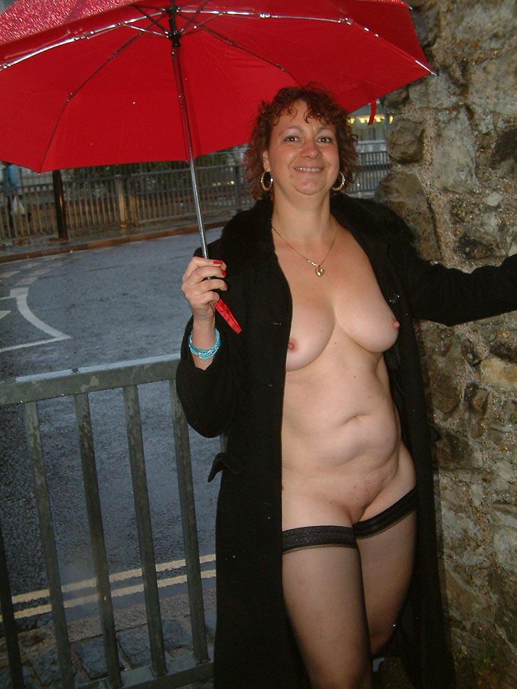 mature in rainwear