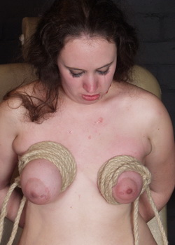Extreme breast hanging bondage and needle torments from The Pain Files