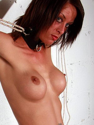 Busty bdsm slavegirl Daniella in nipple stretching pain and bound tit torments from The Pain Files