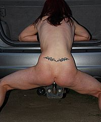 Public pussy torture and outdoor bdsm of Danii Black fucking herself on a towbar whilst in exhibitionist punishment on her nipples and pussy in a park from The Pain Files