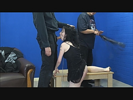 Spanked blowjob of slaveslut Fae Corbin in harsh whipping and submissive oral services from The Pain Files