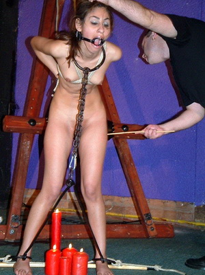 Sahara Knite nude bdsm and indian pornstar spanking of chained and gagged Armeca from GOT in real sadomasochistic session from Shadow Slaves