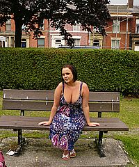 Sarah Janes amateur flashing and public exhibitionism showing big tits and open pussy in the streets and public parks from UK Flashers