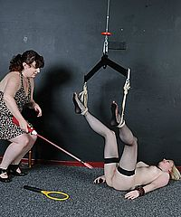 Satines lesbian electro bdsm and bondage of blonde teen slavegirl in pussy punishment. Satine Spark is tied legs in air, tickled, electro punished and driven to an orgasm of pleasure and pain by her lezdom mistress Nimue from Shadow Slaves