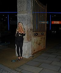 Busty uk pornstar Stephanie Knight flashing tits in exhibitionist longhaired blondes tour round Bristol from UK Flashers