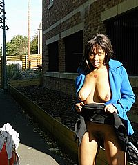 Teen ebony flasher and outdoor public nudity of masturbating black college babe Candy from England from UK Flashers