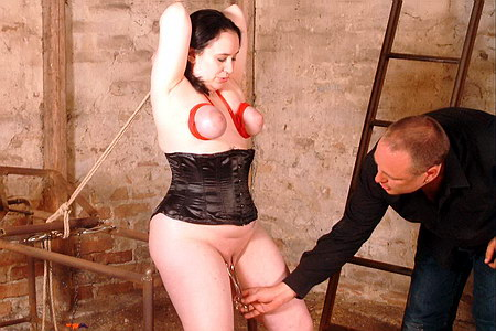 Metal clamping on her pussylips and breast bondage from The Pain Files