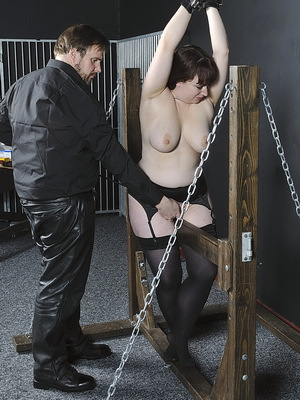 Amateurs wooden horse whipping and restrained pussy pain of chubby slavegirl Nimue in device bondage from Nimues World