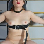 Spanking and Bondage of Isabel Dean in female whipping and foot caning in the private sadomaso dungeon