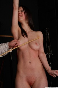 Gruesome tit caning of Emily Sharpe in female breast spanking and pain bondage in the sadomasochist dungeon
