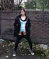 Indian teen Zarina Masoud pissing in public and flashing hairy pussy outdoors from UK Flashers