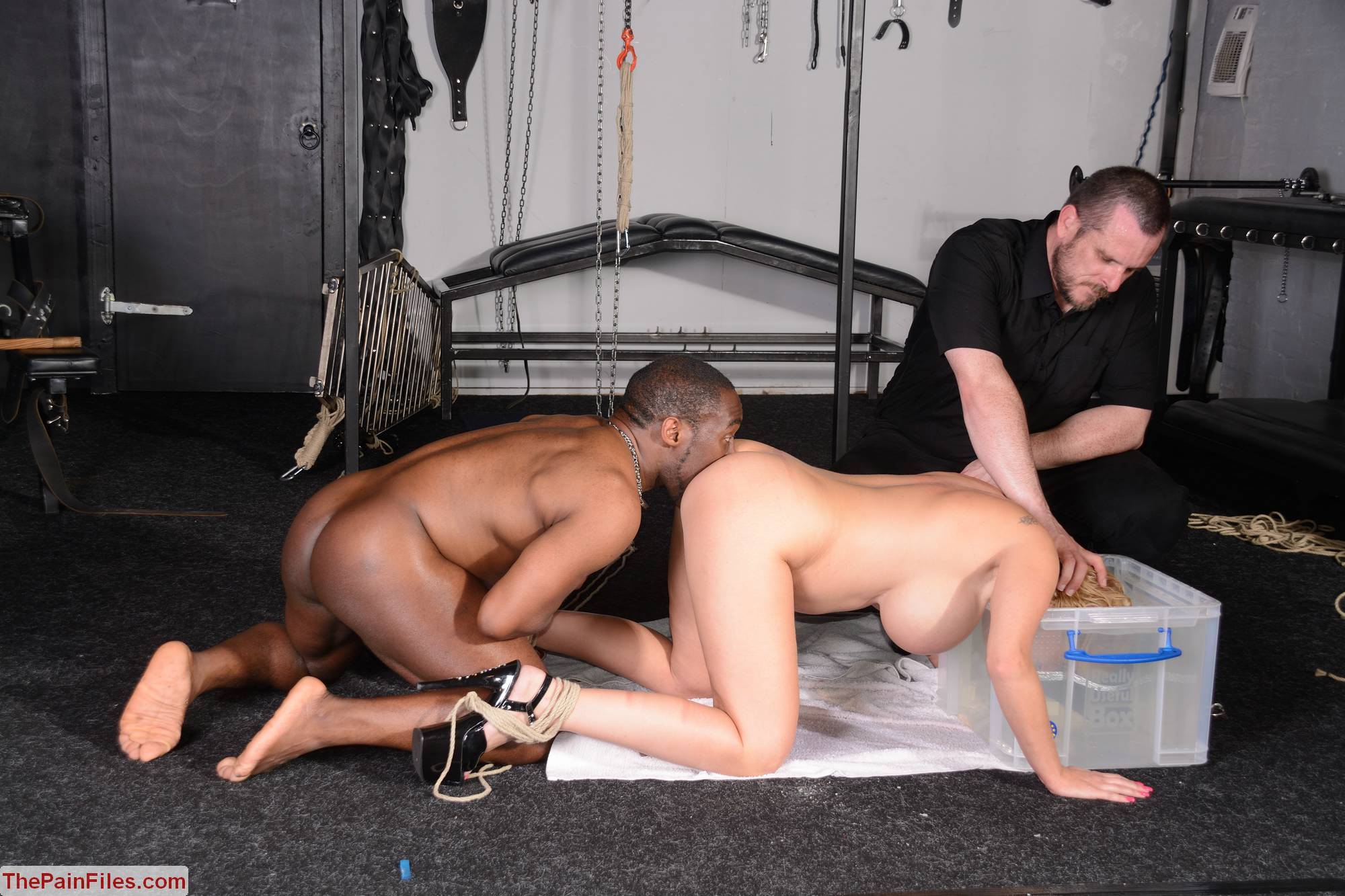Kinky Melanie Moon in Interracial BDSM. German slavesex of busty Melanie Moons extreme fetisch